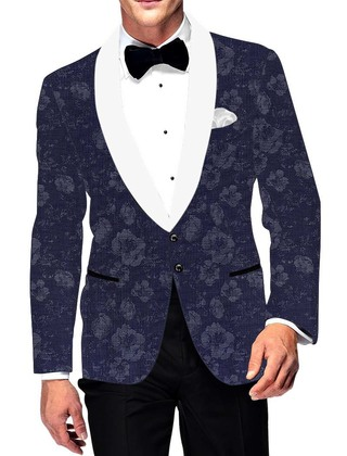 Mens Slim fit Casual Navy Blue Cotton Blazer sport jacket coat Flower Print