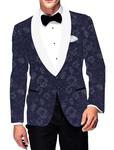 Mens Slim fit Casual Navy Blue Cotton Blazer sport jacket coat Flower Print