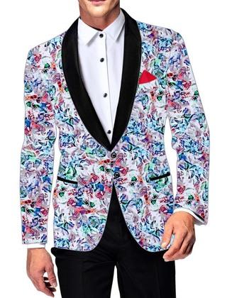Mens White Cotton Blazer Multicolor Printed