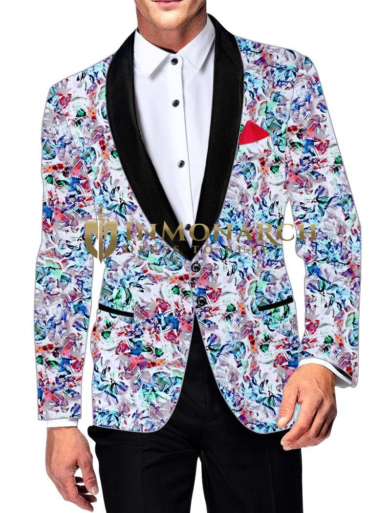 Mens Slim fit Casual White Cotton Blazer sport jacket coat Multicolor Printed