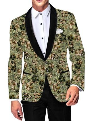 Mens Green Cotton Blazer Floral Printed