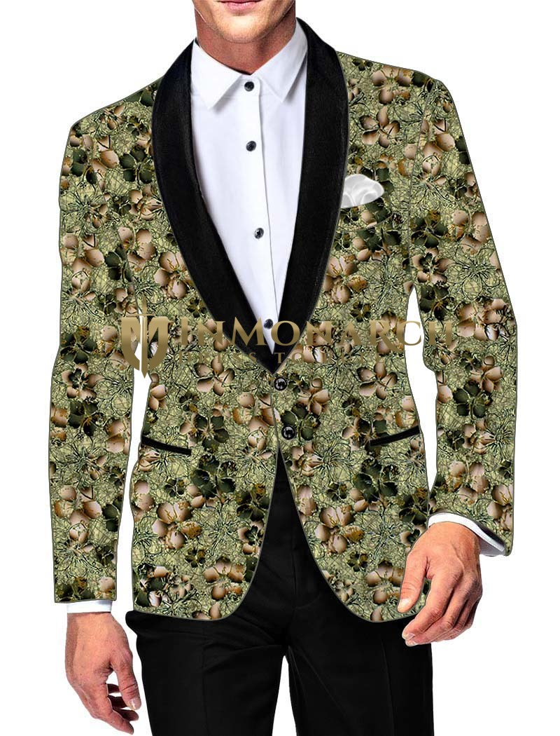 Mens Slim fit Casual Green Cotton Blazer sport jacket coat Floral Printed