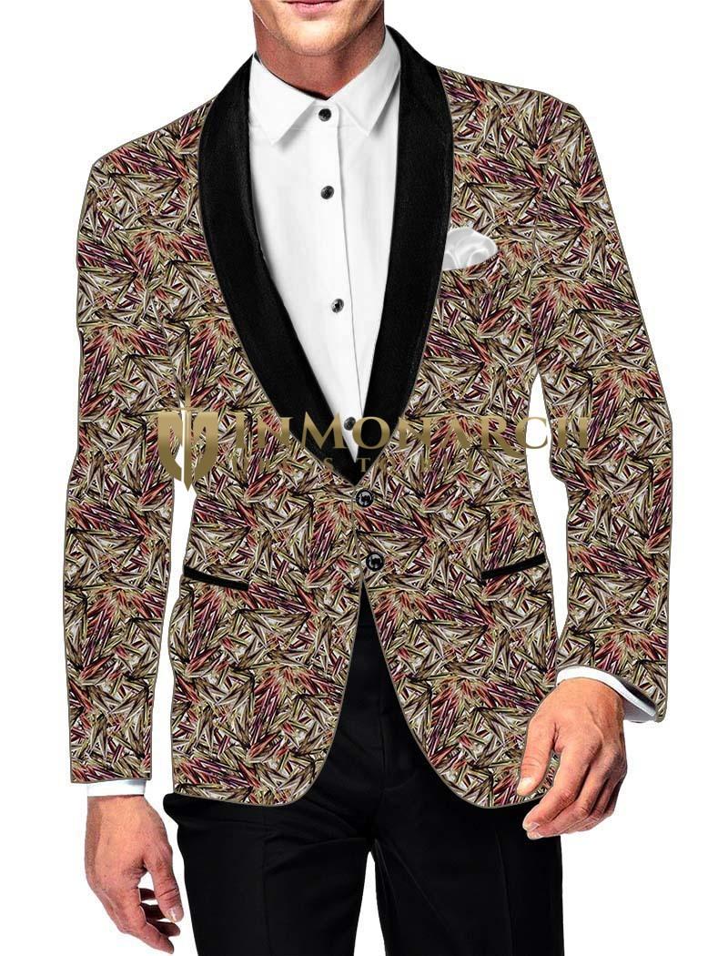 Mens Slim fit Casual Copper Color Blazer sport jacket coat Purple Printed