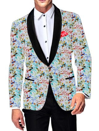 Mens Slim fit Casual Sky Blue Cotton Blazer sport jacket coat Floral Printed
