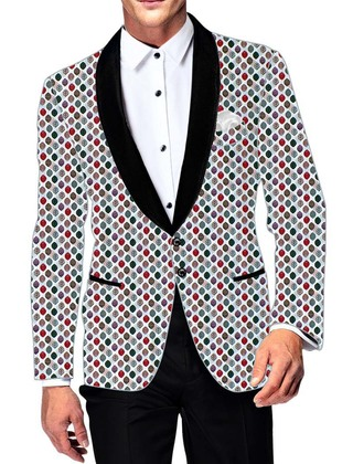 Mens Slim fit Casual White Cotton Blazer sport jacket coat Leaf Printing