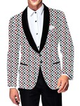 Mens Slim fit Casual White Cotton Blazer sport jacket coat Leaf Printing