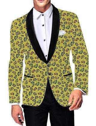 Mens Yellow Cotton Blazer Formal Wear