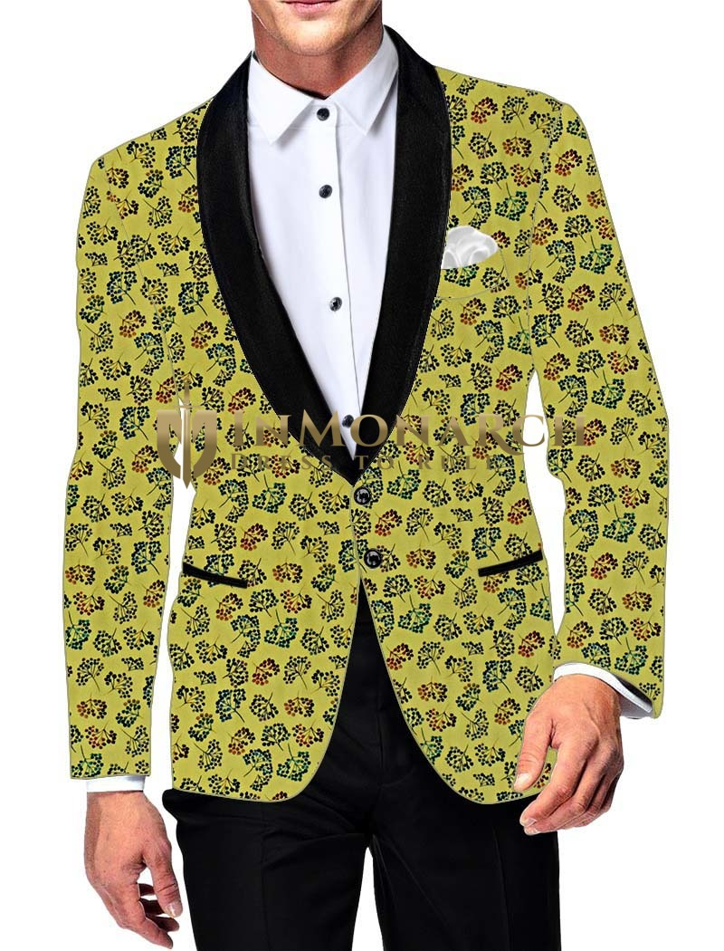 Mens Slim fit Casual Yellow Cotton Blazer sport jacket coat Formal Wear