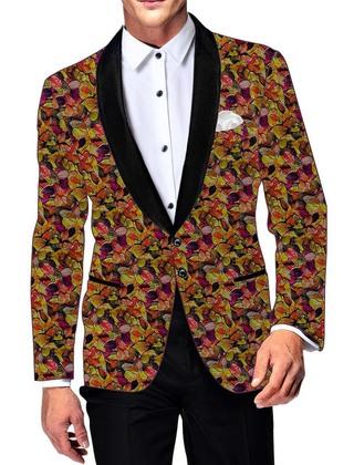 Mens Yellow Cotton Blazer Multicolor Leaf Print