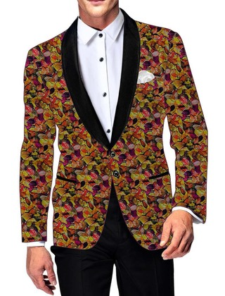 Mens Slim fit Casual Yellow Cotton Blazer sport jacket coat Multicolor Leaf Print