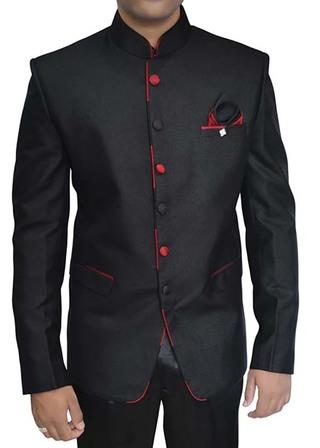 Mens Black 3 pc Tuxedo Nehru Collar Suit