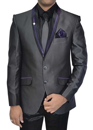 Mens Gray Polyester 5 pc Tuxedo Suit Purple Trim