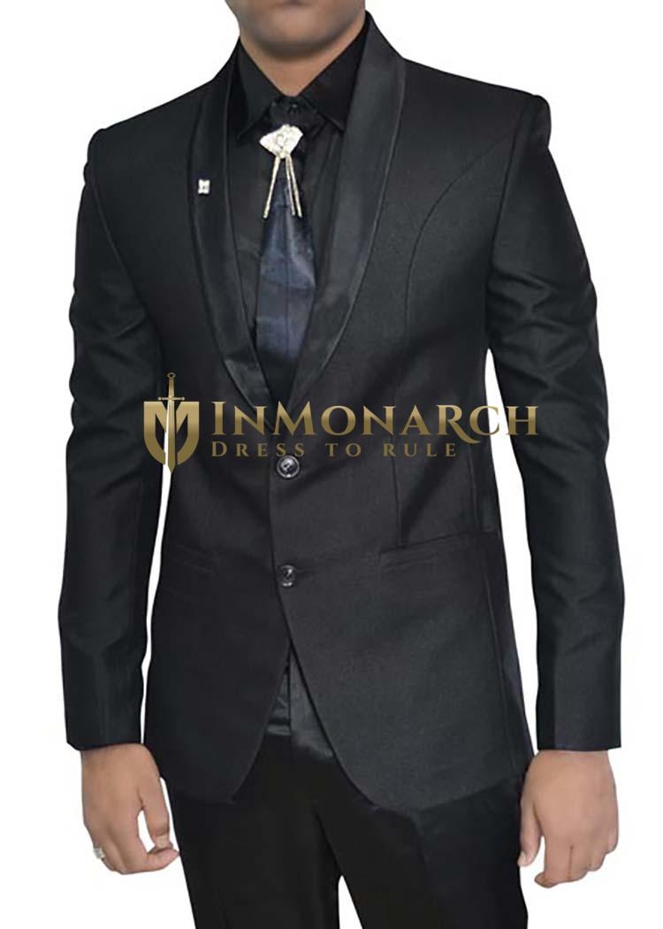 Mens Black Polyester 5 pc Tuxedo Suit Shawl Collar