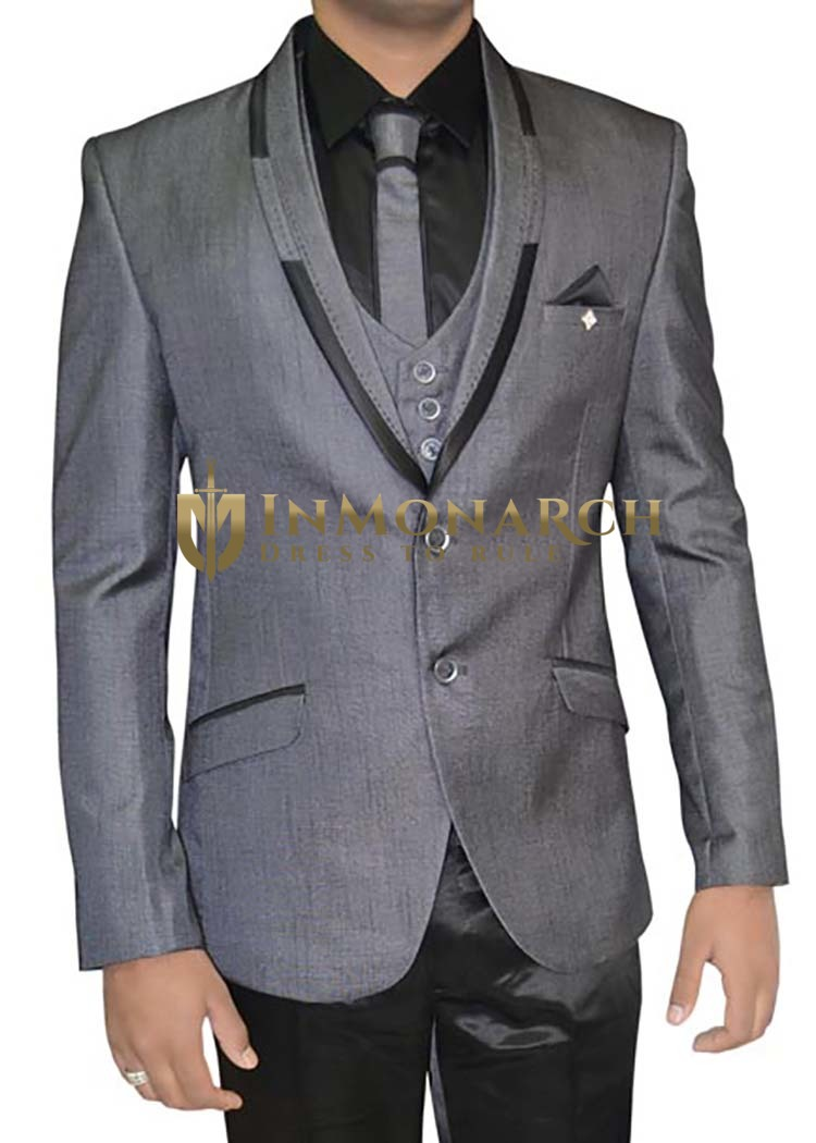 Mens Gray Polyester 6 pc Tuxedo Suit Trim Lapel