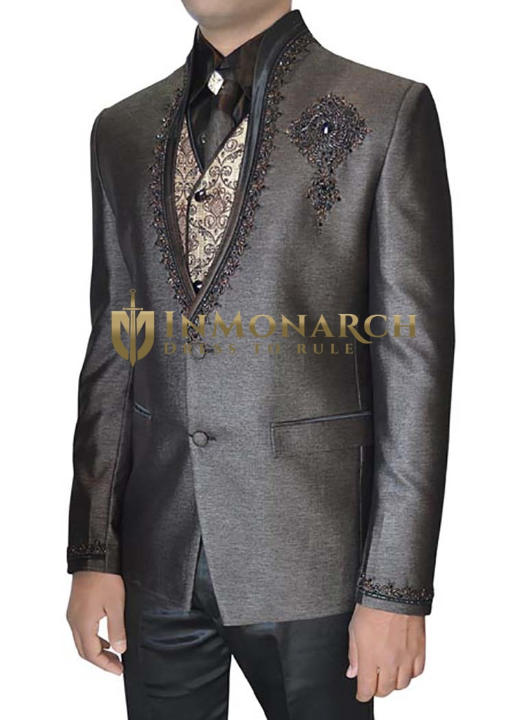 Mens Gray 6 pc Tuxedo Suit Hand Embroidered