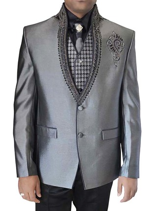 Mens Sharkskin 6 pc Tuxedo Suit Embroidered Collar