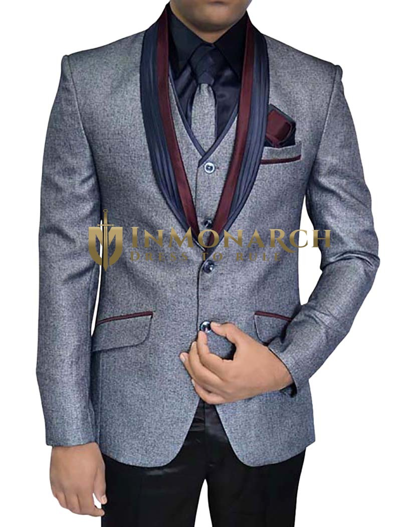 Mens Gray Polyester 6 pc Tuxedo Suit Shawl Collar