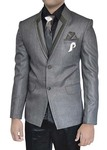 Mens Gray Polyester 7 pc Tuxedo Suit Designer Lapel