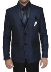 Mens Navy Blue 6 pc Tuxedo Suit Velvet Trimming