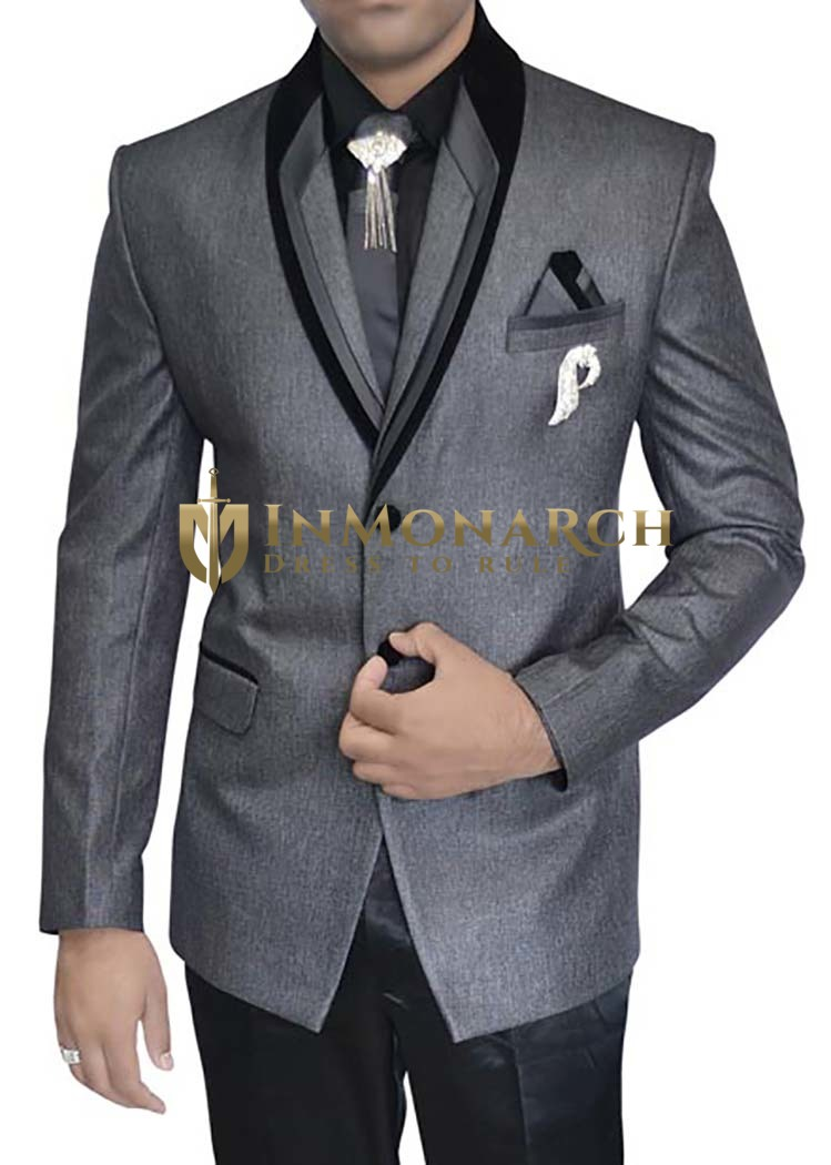 Mens Gray Polyester 7 pc Tuxedo Two Button Suit
