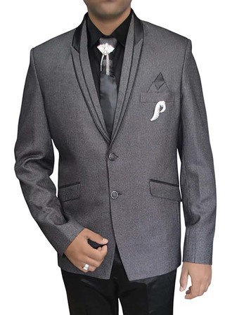 Mens Gray Polyester 7 pc Tuxedo Suit Formal
