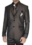 Mens Brown 7 Pc Tuxedo Suit Trimming Lapel