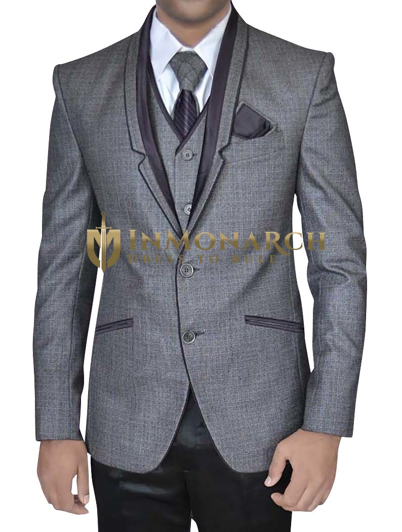 Mens Gray 6 Pc Tuxedo Suit Stylish Notch Lapel