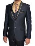 Mens Black Polyester 7 Pc Tuxedo Suit Tan Piping
