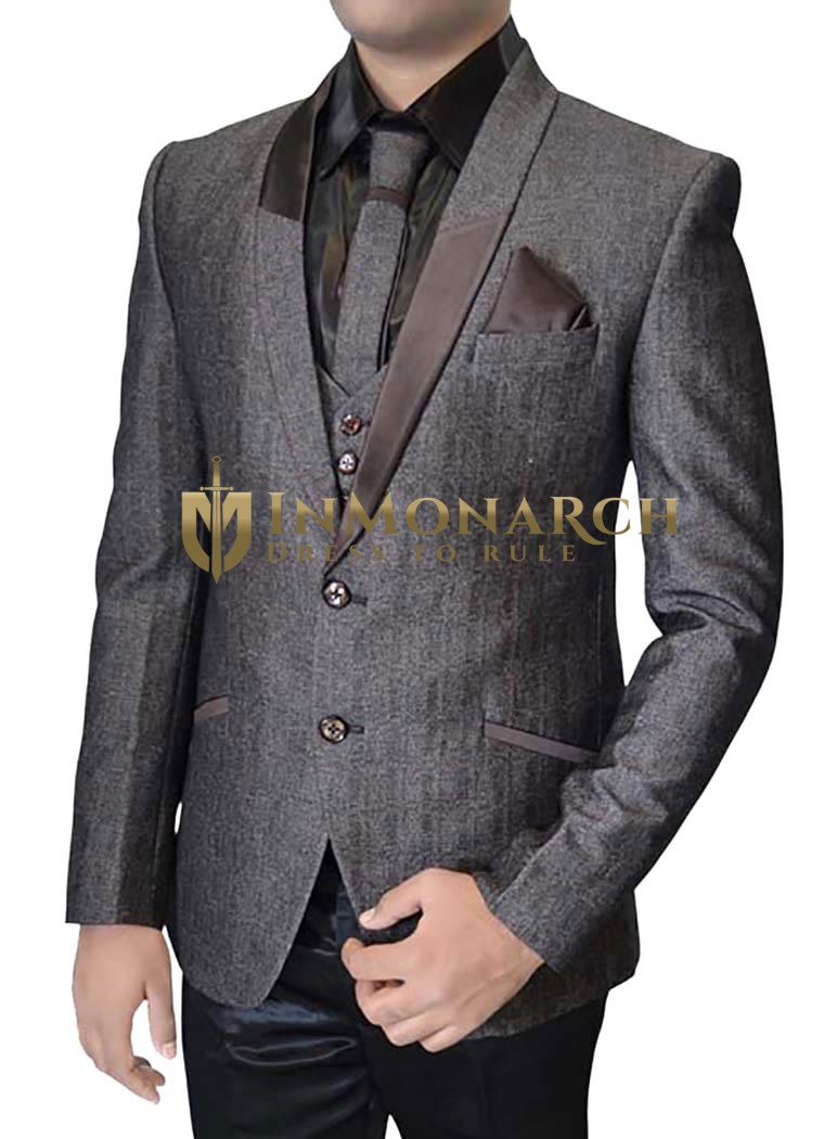 Mens Purple Gray 6 pc Tuxedo Suit Shawl Lapel
