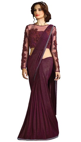 Purple Wine Fancy Knit Partywear Saree