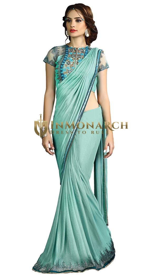 Turquoise Fancy Knit Wedding Saree
