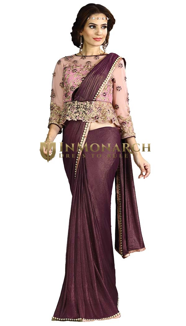 Wine Fancy Knit Lehenga Style Saree