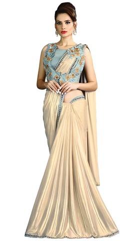 Ivory Fancy Knit Lehenga Style Sarees
