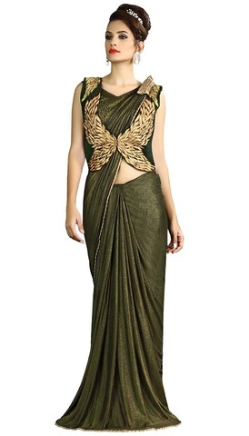 Green Fancy Knit Lehenga Saree