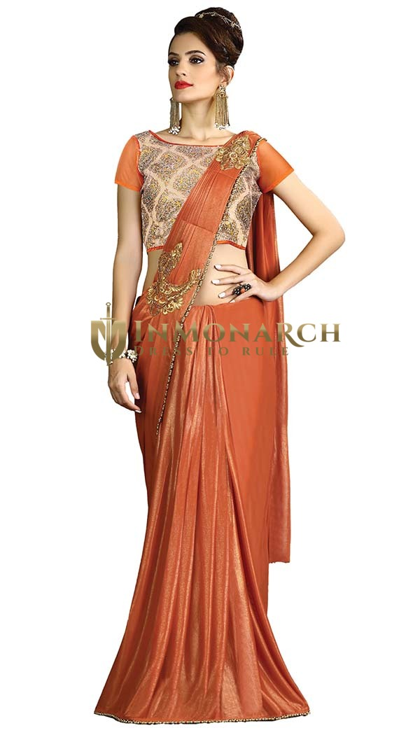 Orange Fancy Knit Indian Bridal Saree