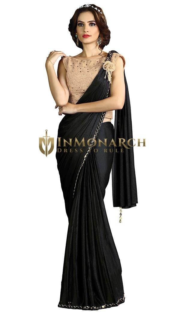 Black Fancy Knit Lehenga Style Saree