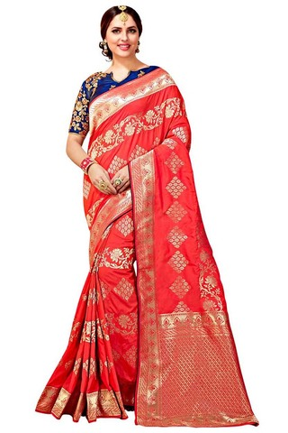 Crimson Red Art Silk Partywear Saree