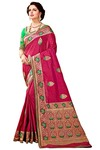 Magenta Art Silk Embroidered Bridal Saree
