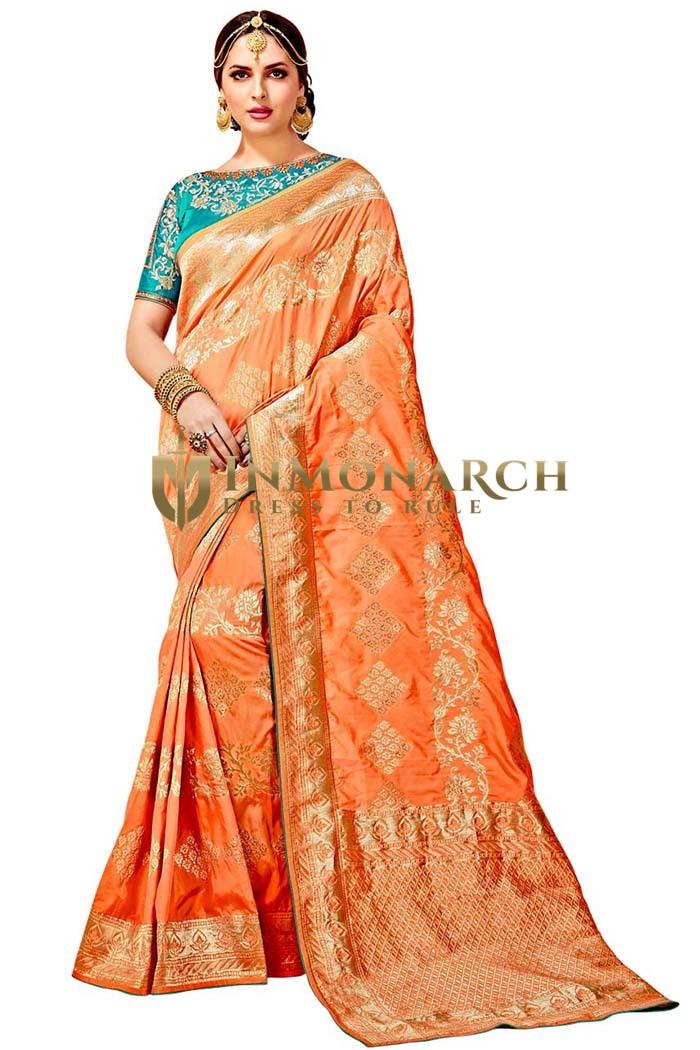 Peach Art Silk Bollywood Saree
