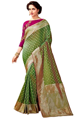 Green Art Silk Weaving Work Saree