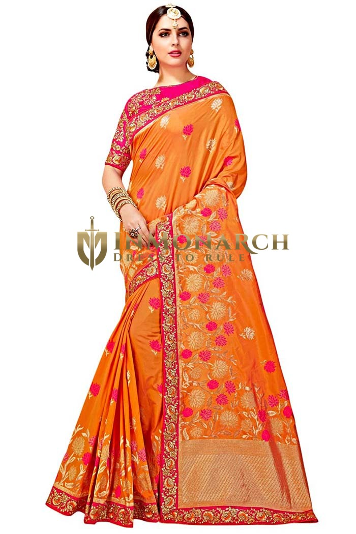Orange Art Silk Designer Bridal Saree