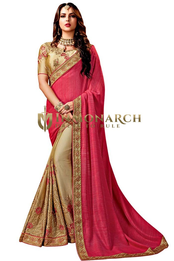Beige and Burgundy Chiffon and Satin Saree