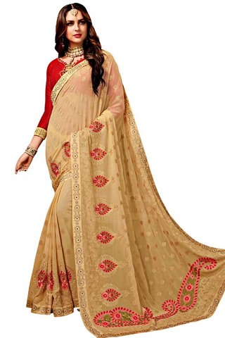 Beige Chiffon Embroidered Bridal Saree