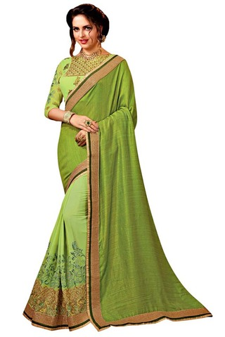 Light Green Chiffon and Georgette Partywear Saree