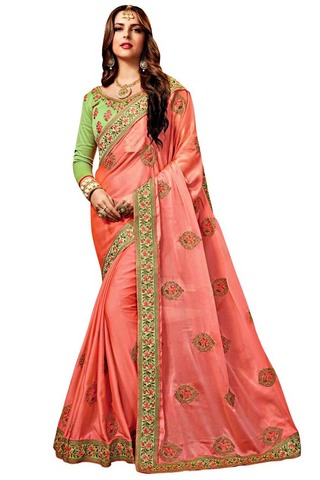 Peach Satin Chiffon Traditional Saree