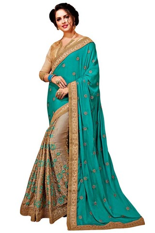 Beige and Teal Satin Chiffon Saree