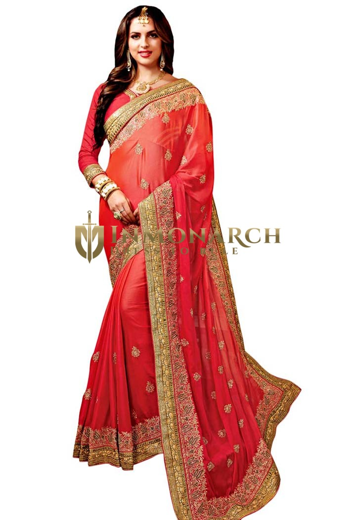 Shaded Red Satin Chiffon Wedding Saree