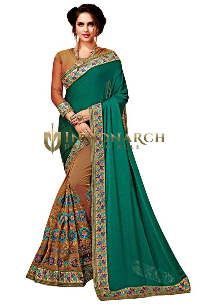 Teal and Brown Satin Chiffon Bollywood Saree