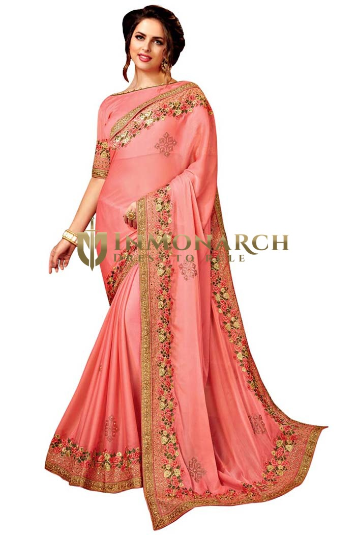 Peach Satin Chiffon Bridal Saree
