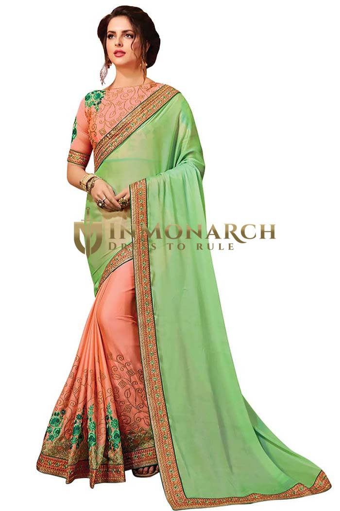 Peach and Light Green Satin Chiffon Saree